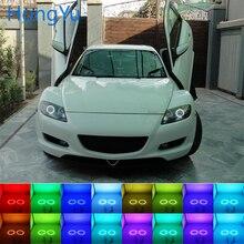 Latest Headlight Multi-color RGB LED Angel Eyes Halo Ring Eye DRL RF Remote Control for Mazda RX8 Rx-8 2004-2008 Accessories