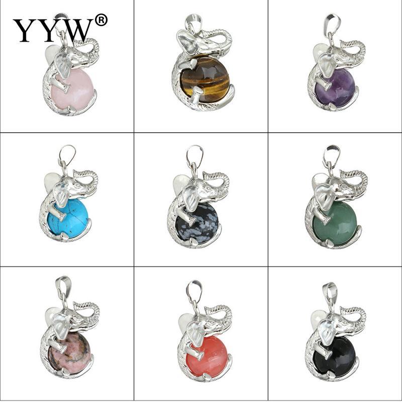 YYW Punk Natural Gems Stone Pendants Women Male Jewelry Lovely Elephant 3D Animal Quartz Jaspers Agata Tiger Eye Stone Pendants