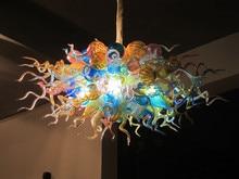 Elegant LED Light Source Modern Art Decor Handmade Blown Galss Hanging Chain Chandelier
