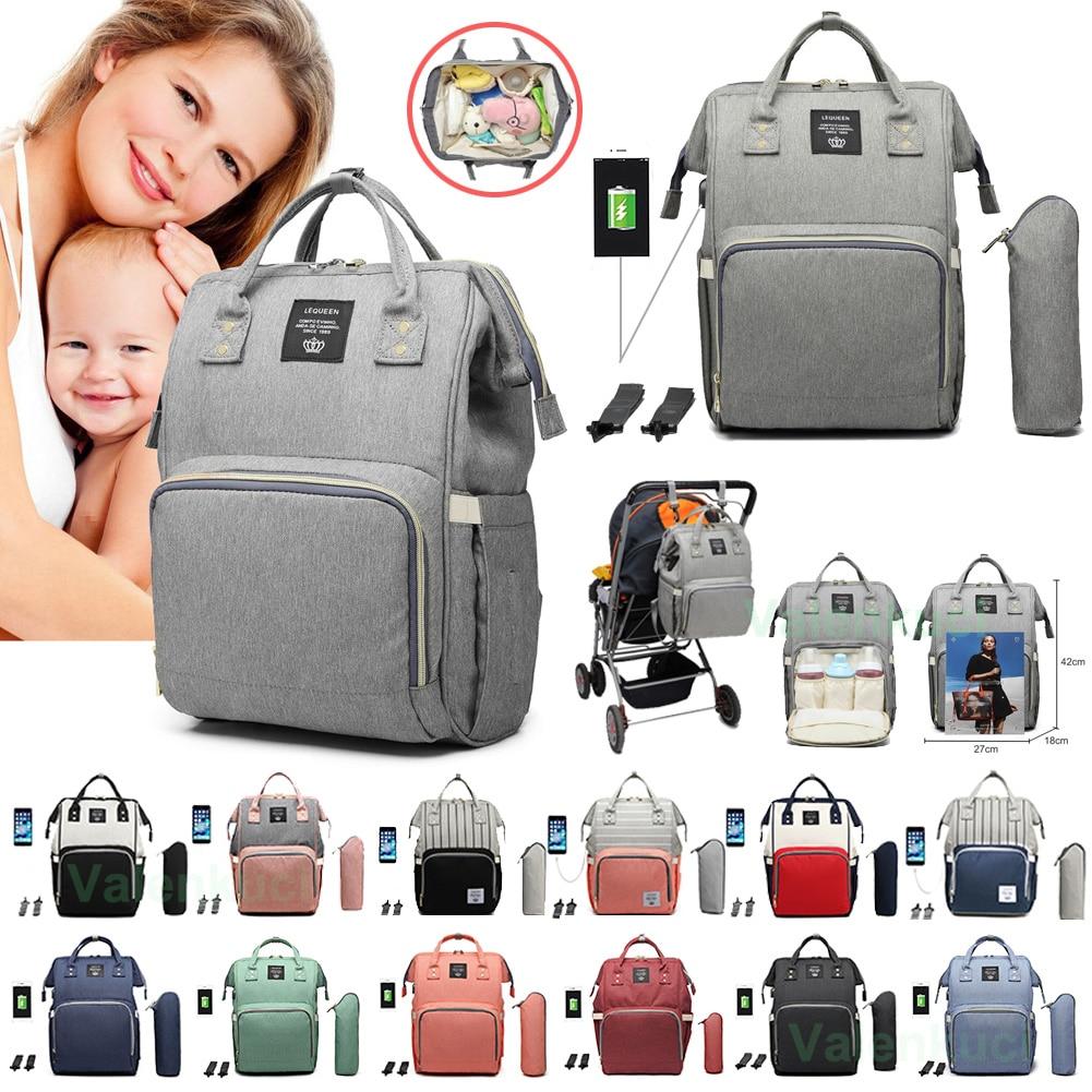 Lequeen bolsa de pañales para bebés con interfaz USB, grandes Kits de bolsa de pañales impermeables, momia, mochila de viaje de maternidad, bolsa de lactancia con gancho