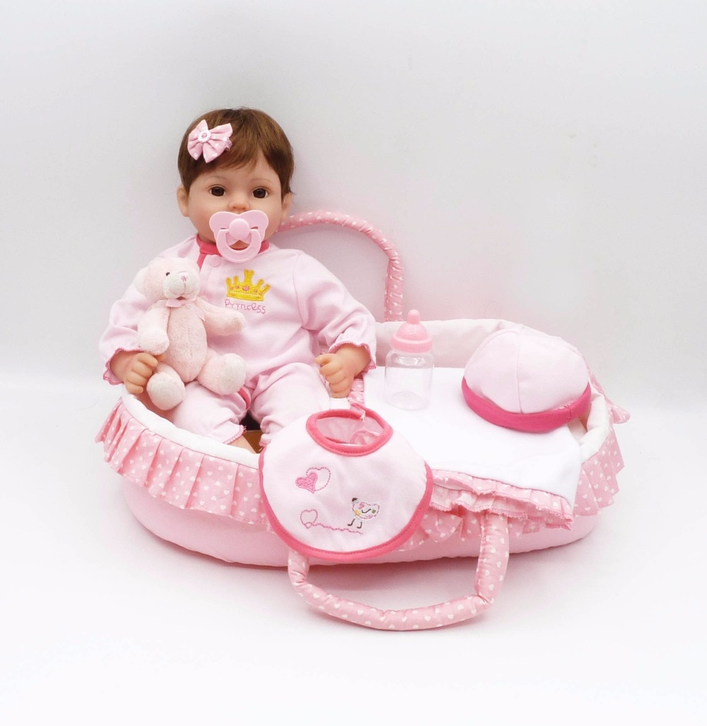 "Mooie reborn baby meisje bebe poppen 16 ""41cm siliconen pop reborn Luxe accessoires slapen mand fopspeen fles"