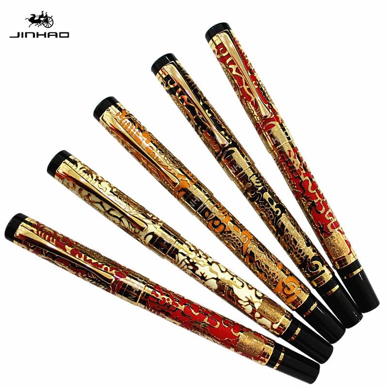 JINHAO 5000 Золотая перьевая ручка 18KGP M, резные канцелярские принадлежности с драконом, школьная и офисная ручка для письма, хит продаж