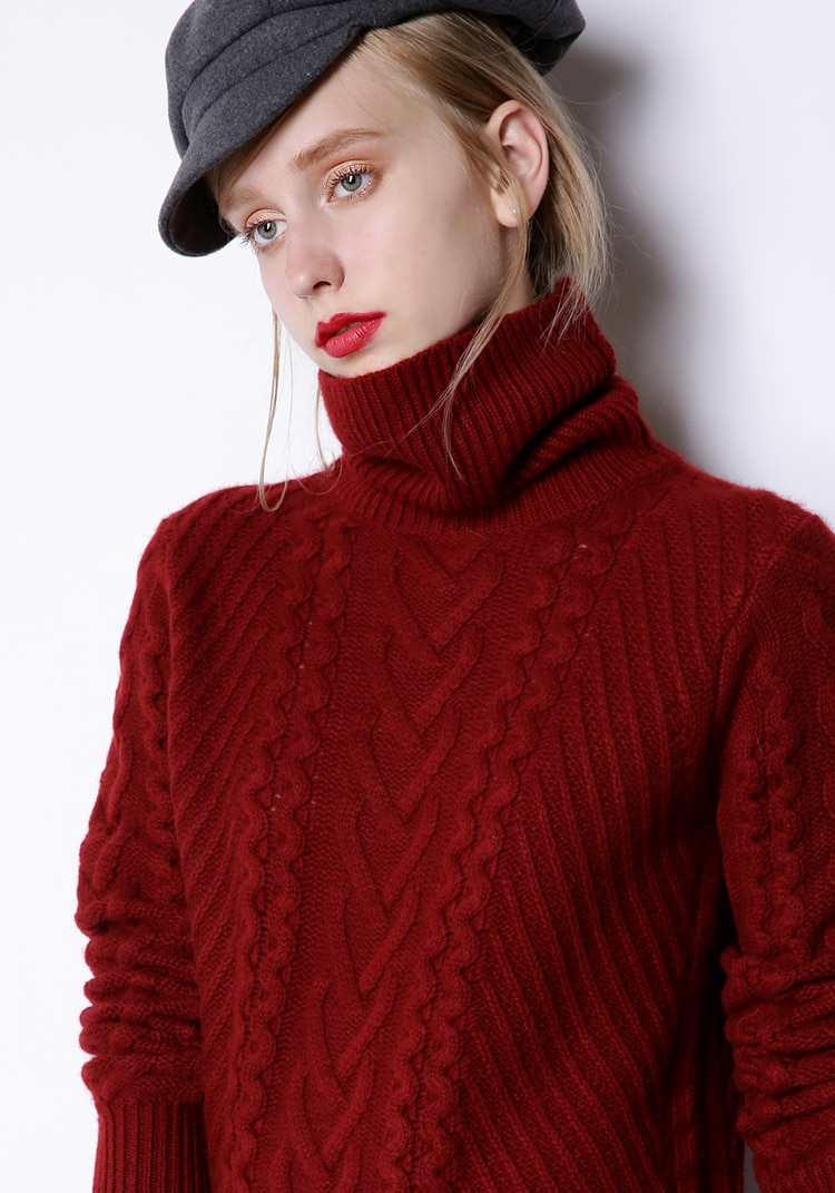 Poncho Jumper Hot Sale Wool Pullover Sweaters Women High Collar Cashmere Long Sweater Female Twisted Loose Thick Turtleneck enlarge
