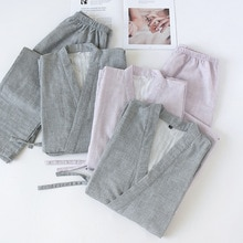 Couleur unie japonais 100% coton Couples maison Kimono ensemble hommes et femmes v-cou Pyjamas printemps Pyjamas minces vêtements de nuit