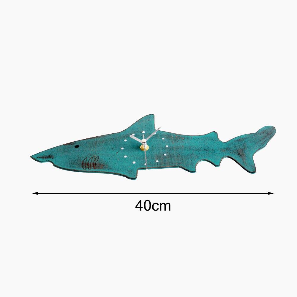 40cm Wood Shark Wall Clock Wall Decor Colorful Big Shark Shape Geometric Silently Clock For Home Decoration Accessories