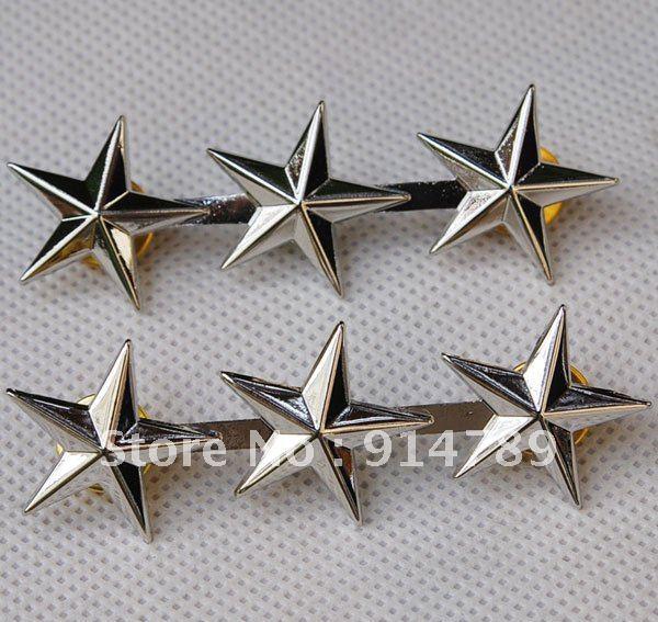 Par de oficiales del ejército de los EE. UU. WW2 3 estrellas, insignias de rango GENERAL de teniente PIN-32139