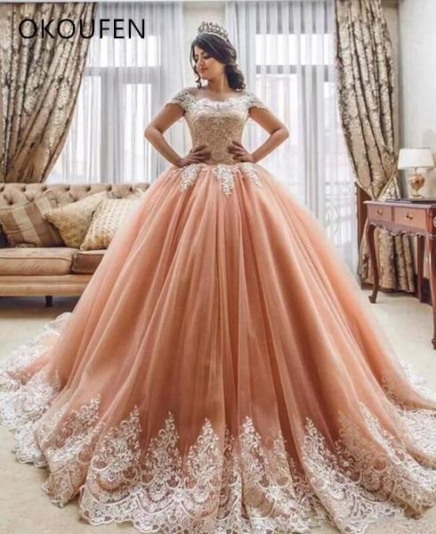 Quinceanera Dresses 2019 Luxury Dusty Ball Gown vestido de 15 anos de debutante Sweet 16 Dresses Dubai Arabic ballkleid Birthday