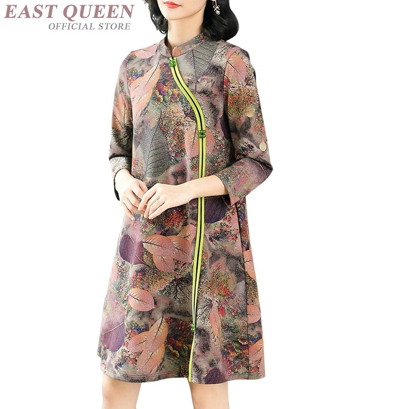 Vestido de mujer mayor otoño 2019 vestido de verano de cuero vestido Vintage femenino mandarín Vestidos elegantes Vestidos chinos AA4130