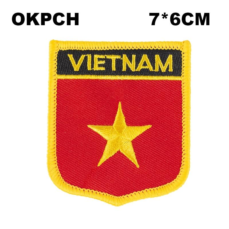 Os remendos do bordado da bandeira do vietnã ferro em remendos da transferência ajustaram aplicações de costura para a roupa em casa & no jardim PT0212-S