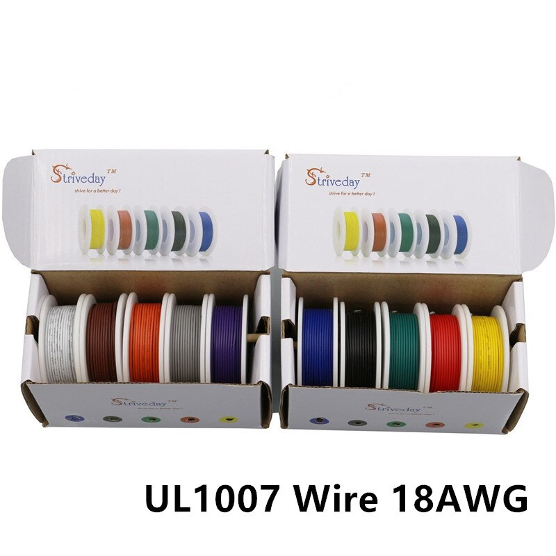 Коробка для перемешивания, 50 м/коробка, 164 дюйма, UL 1007, 18AWG, 10 цветов, провод, луженая медная проволока, многожильный провод, сделай сам