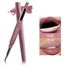 Карандаш для губ MISS ROSE Pro, двухконцевые сексуальные красные бархатные матовые карандаши для губ, нюдовые пигменты, легко носить, макияж, карандаш для губ