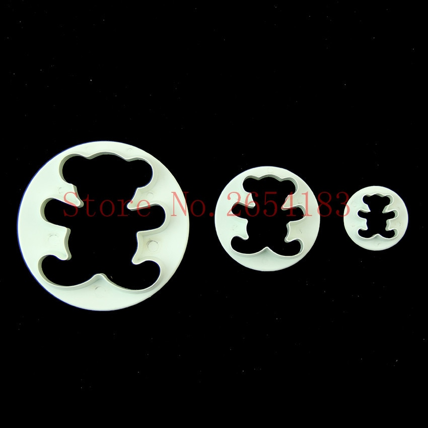 3 uds Animal Oso de plástico cortador de émbolo Fondant molde para pasteles y magdalenas Cookie masa, chocolate utensilio de horneado para decorar galletas FQ2022