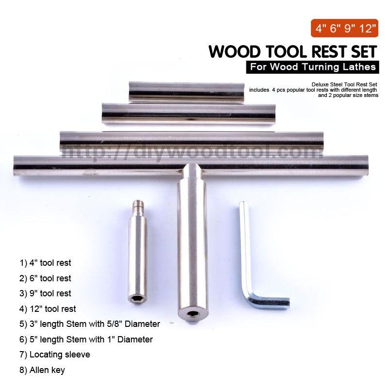 """Barra redonda ferramenta resto para tornos de torneamento de madeira 12 """"longo com 5/8"""" suporte de descanso de ferramenta haste aço cromado material de aço"""