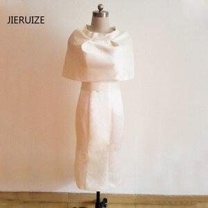 JIERUIZE White Tea Length Evening Dresses With Cape Back Slit Mother of the Bride Dresses Buttons Formal Dresses abendkleider