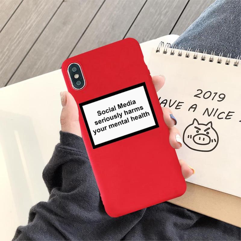 Gykz Sociale Media Serieus Schaadt Je Mentale Gezondheid Telefoon Gevallen Voor Iphone Xs Max Xr X 7 8 6 6 S Plus Zachte Tpu Cover Coque