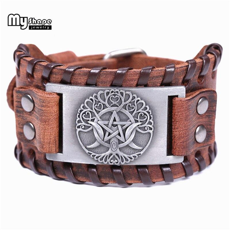 Pulsera con hexagrama con forma de vida de árbol Vikingo, accesorios de joyería para hombre, pulsera ancha de cuero auténtico con símbolo de Odin