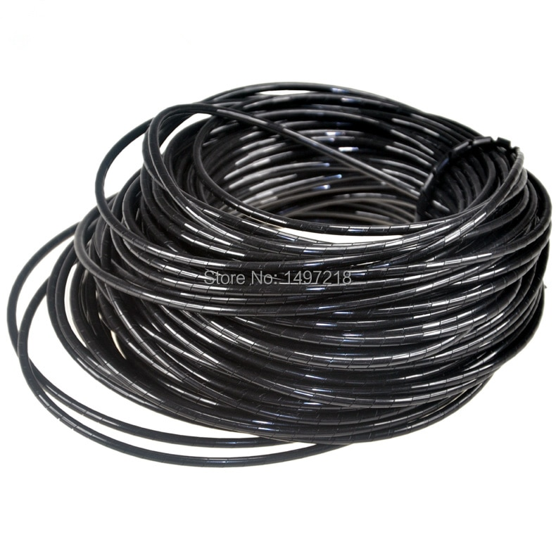 Frete Grátis PE cabo e cabo de fio envoltório espiral 4mm * 50 m l Espiral do Fio do Cabo do Envoltório do Tubo computador Gerenciar Cord Cabo mangas
