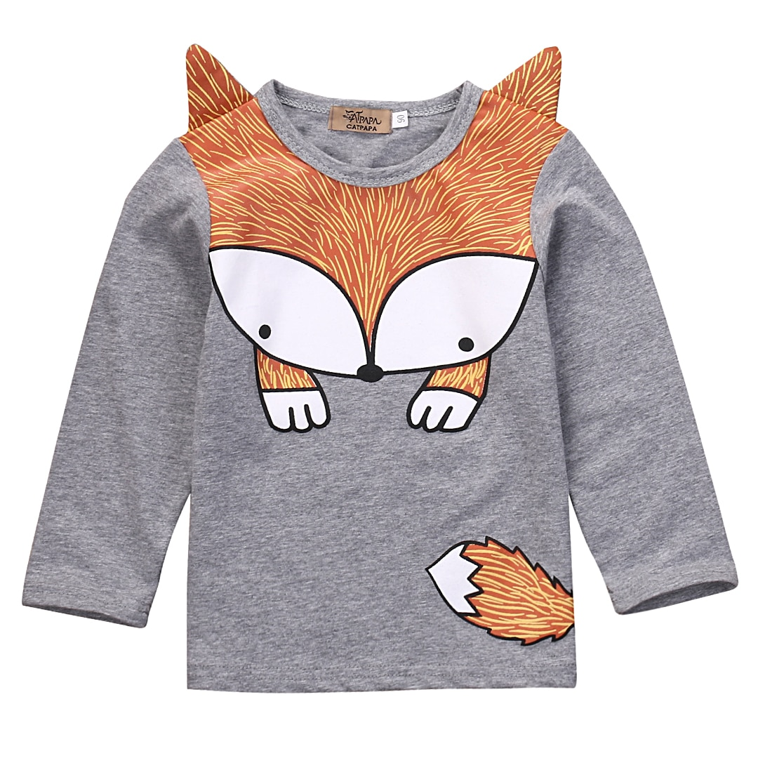 Toddler Kids  Cartoon Fox T-shirt Spring/Autumn Cute Infant  Baby Boys  Girls Long Sleeve t-shirt Clothes  Casual Clothing