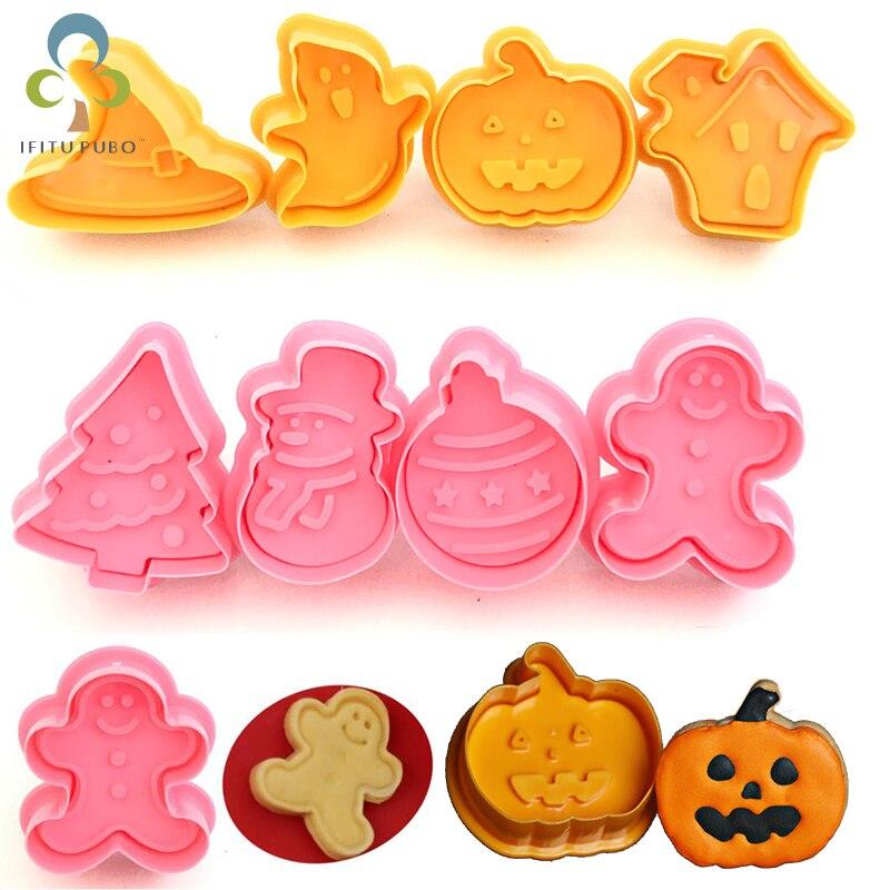 Cortador de biscoito de halloween, 4 pçs/set plástico árvore de natal, halloween, bombardeio, tema, êmbolo, molde de chocolate, fondant, rqx