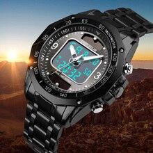 Montres pour hommes solaire sport numérique montre à Quartz hommes horloge en acier complet étanche montre-bracelet LED relogio masculino 2019 SKMEI