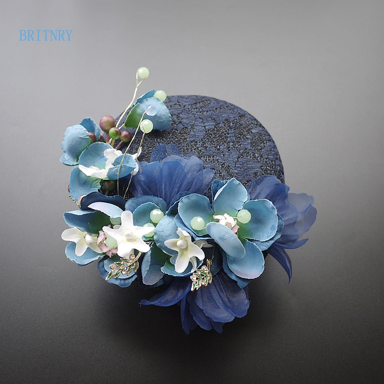 BRITNRY جديد وصول الظلام البحرية الزفاف قبعة اليدوية الزهور خمر الزفاف قبعة عالية الجودة اكسسوارات الزفاف