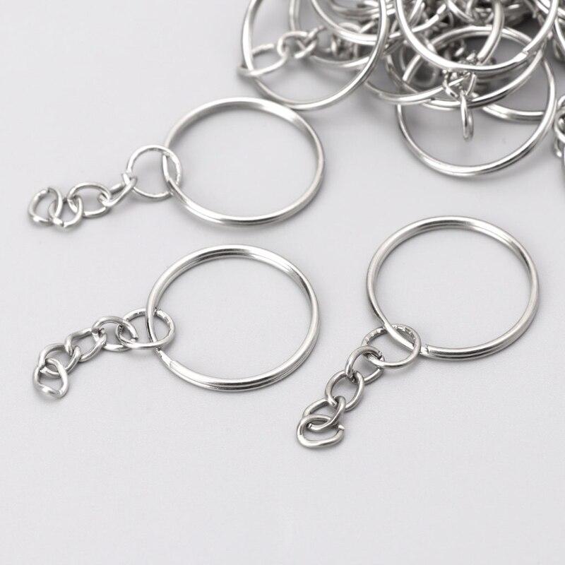 Diy 25mm polido chaveiro anel rachado curto corrente chaveiro fob anéis 100 pçs