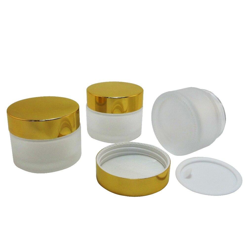 3 piezas de 50 ml de vidrio de escarcha de maquillaje tarro de crema w oro brillante de aluminio tapa de plástico (AY200F-50)