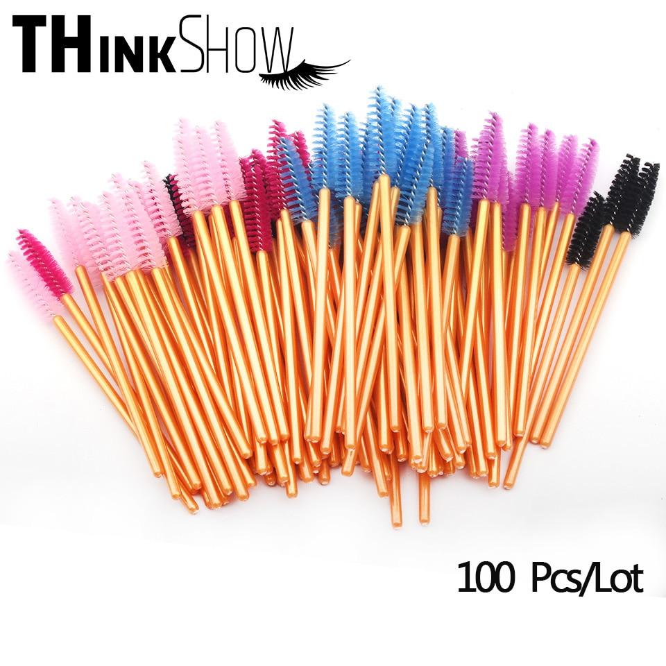 5 Colors Eyelash Brushes,100 Pcs/Lot Individual Eye Lashes Brushes for Beauty Makeup,Mink Lashes Extension Colorful Brushes