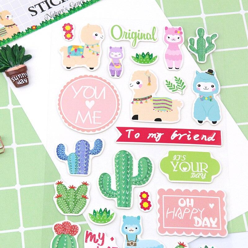 Pegatinas decorativas de papelería de Cactus de Alpaca, álbum diario de recortes DIY, etiqueta adhesiva
