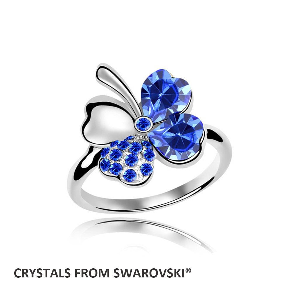 2016 encantadores anillos de flores creados anillo de diamantes de imitación joyería de boda con cristales de SWAROVSKI para regalo de Navidad Bisutería
