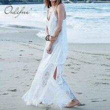 Ordifree 2019 été femmes Maxi longue robe de plage grande taille 3XL 4XL 5XL col en V sans bretelles Sexy Crochet noir blanc dentelle robe Maxi