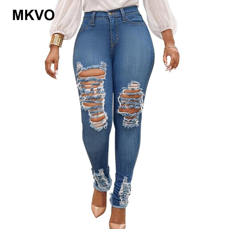 Las mujeres de la marca azul oscuro Sexy vaqueros desteñidos con agujeros de moda Vaqueros skinny Mujer vaqueros denim elásticos pantalones de talla grande