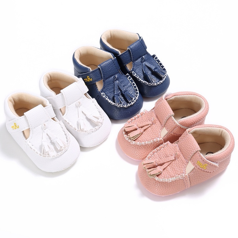 0-18 Months Baby PU Leather Tassel Crib Shoes Toddler Boy Girl Soft Sole Shoes New