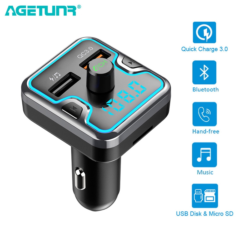 AGETUNR T45 QC3.0 Rápida Carregador de Carro Dual USB para o Telefone Móvel iphone Transmissor FM Handsfree Car Kit Bluetooth MP3 Jogador