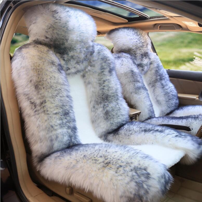 Funda para asiento de coche de lana australiana de alta calidad, piel Pulvinis de invierno cálido, de lana Natural cojín de asiento, 1 pieza, funda delantera para asiento de coche