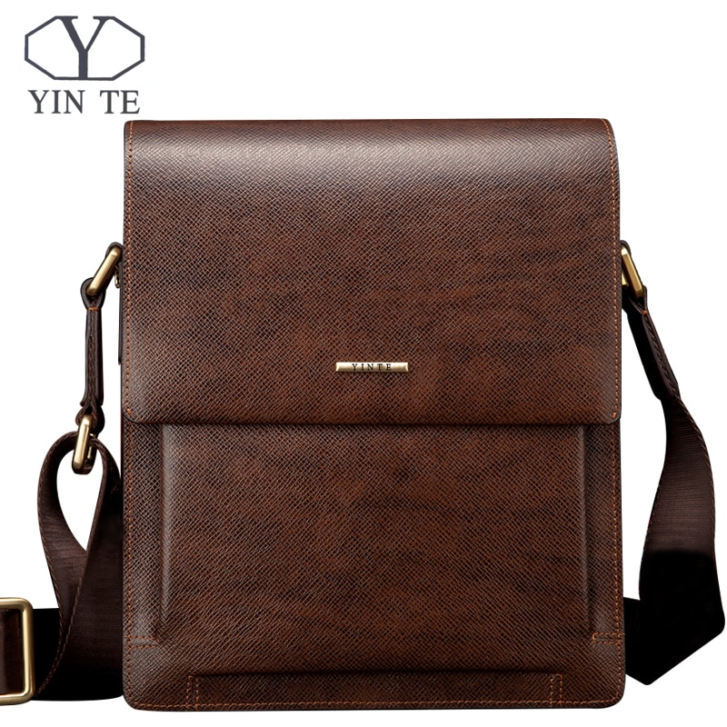 YINTE الأزياء جلد الرجال رسول أكياس الأعمال جلدية صغيرة الكتف حقيبة البني أكياس الرجال غطاء حقائب محفظة T8277-1