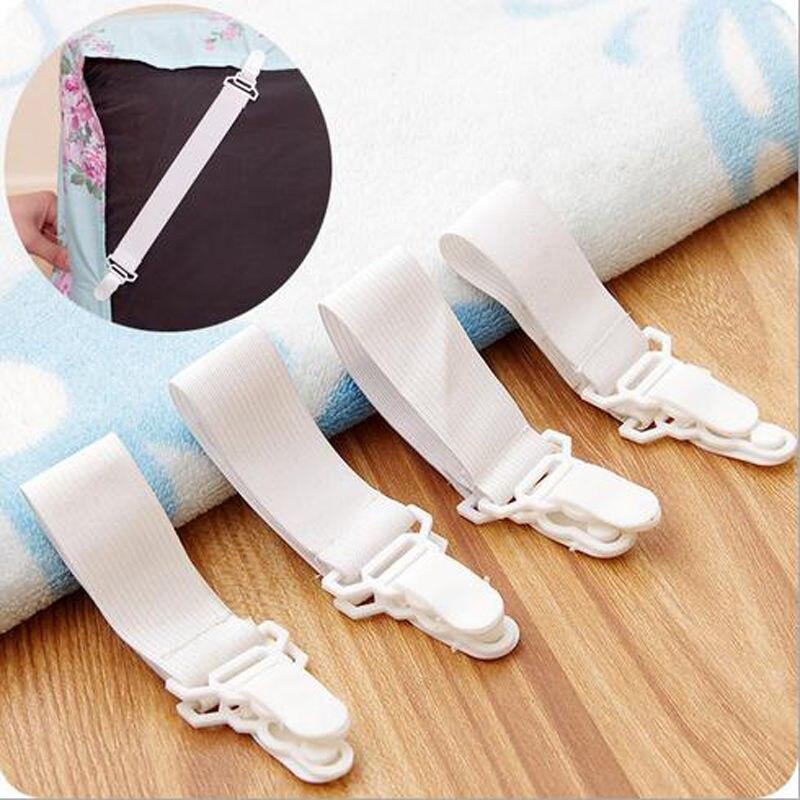 Popular, 4 Uds., pinzas blancas, Sábana de cama, Funda de colchón, mantas para el hogar, sujetadores de sujeción, correas elásticas, fijación, antideslizante