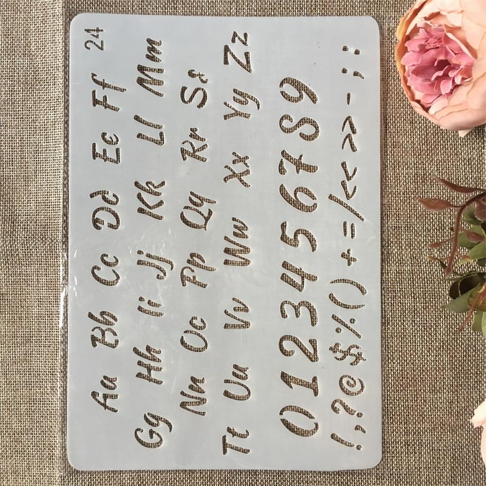 A4 26 см числа буквы алфавита DIY ремесло наслоения трафареты живопись штампованная для скрапбукинга тиснильный альбом шаблон бумажной карты