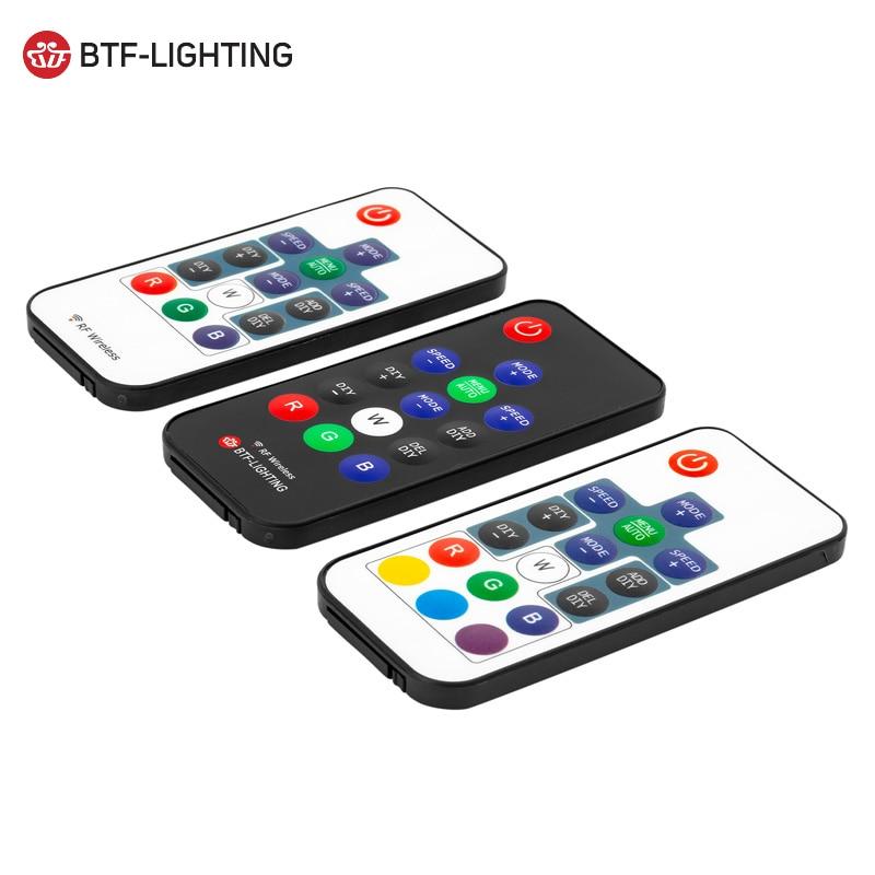 Controlador de luz Led RGB WS2811/WS2812B RGB DC5V-24V 3key/14key/17key/21key RF remoto Mini controlador inalámbrico 3pin JST