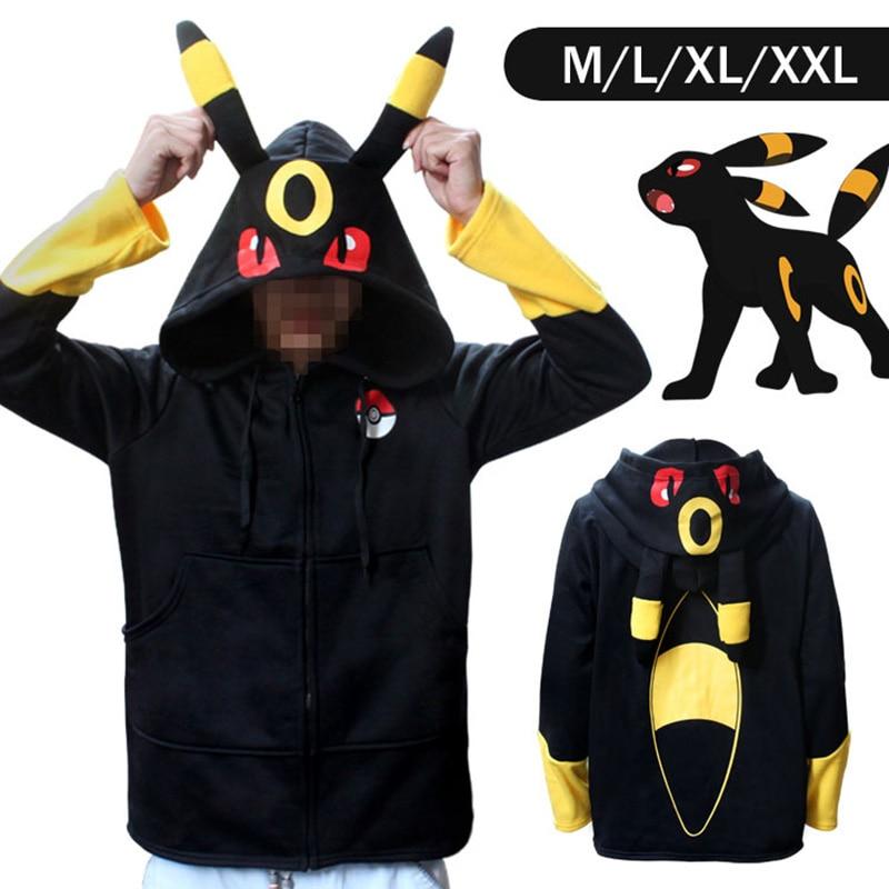 Anime Pokemon Go Pikachu Umbreon Ears Hoodies halloween costume for Women Men Cosplay Costumes Adult Unisex Hoodies Sweatshirt