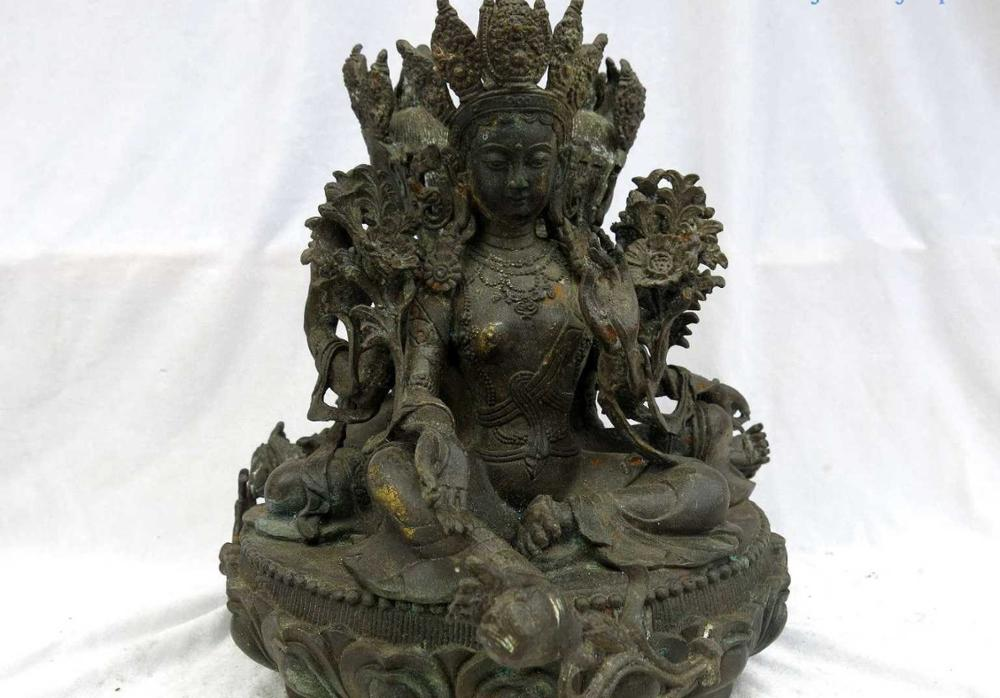 "11 ""China escultura de bronce antiguo gild fine asociados triedro estatua de Tara Verde"
