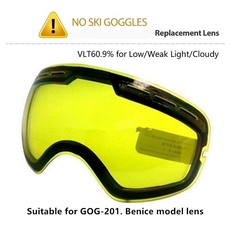 Lentes originales brillantes, gafas de Snowboard, lentes amarillos de visión nocturna, lentes de esquí, esférico grande, adecuado para Benice GOG-201