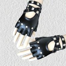 Gants en cuir PU mi-doigt 1 paire   Cool Rock Punk, gants à rivets sans doigts, gants de moto LL @ 17