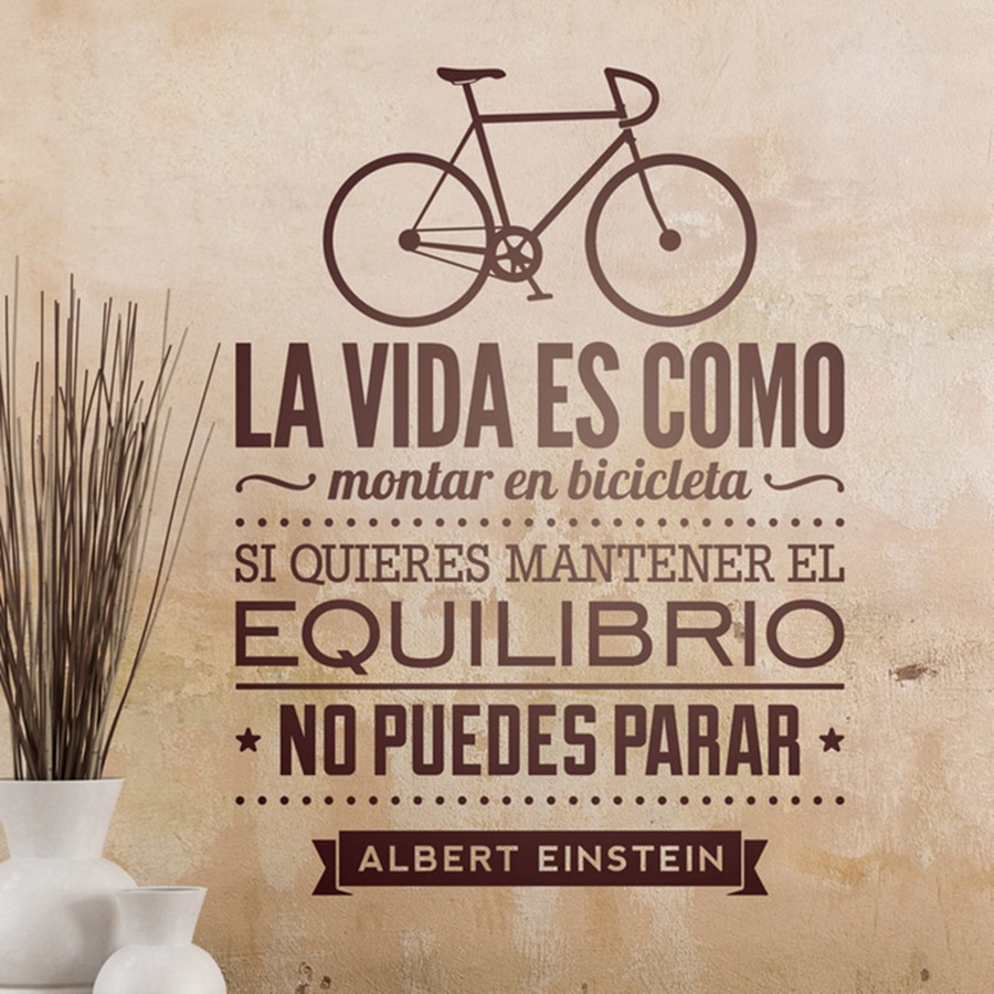 Vinilos decorativos de bicicletas Home Decoration - Life Is Like Riding A Bicycle Spanish Vinyl Wall Decal Stickers Espana
