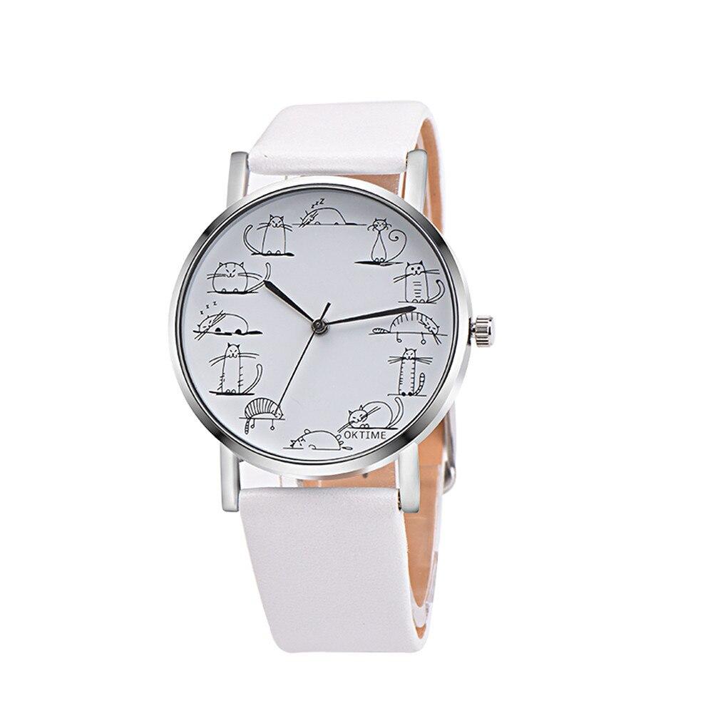 Retro Design Lovely Cartoon Cat Leather Band Analog Alloy Quartz Wrist Watch  Reloj de pareja free shipping W
