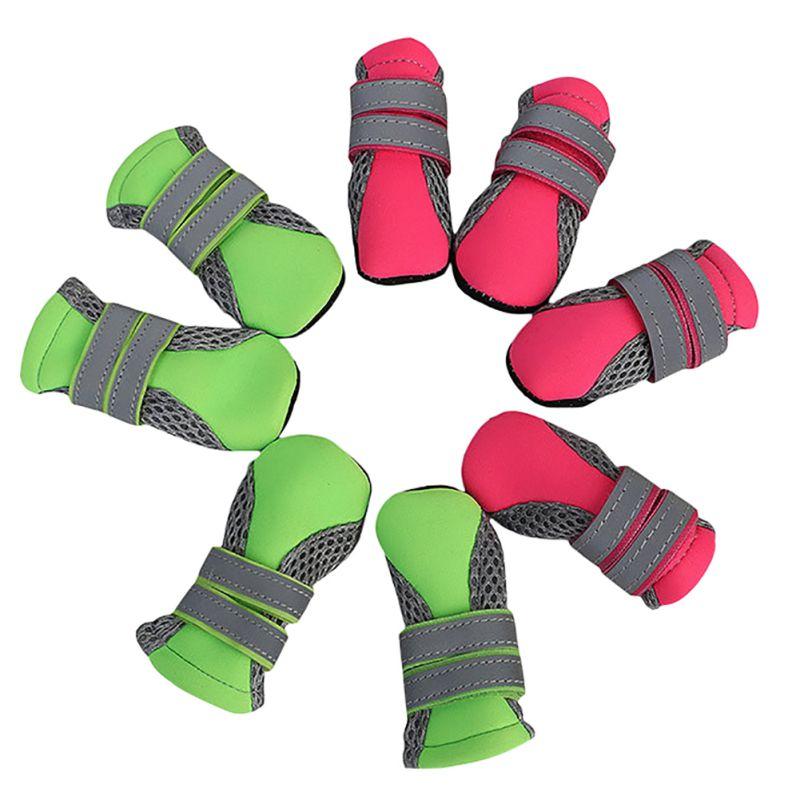 4 unids/set al aire libre impermeable antideslizante antimanchas perro gato calcetines botines zapatos con suela de goma Pet pata Protector