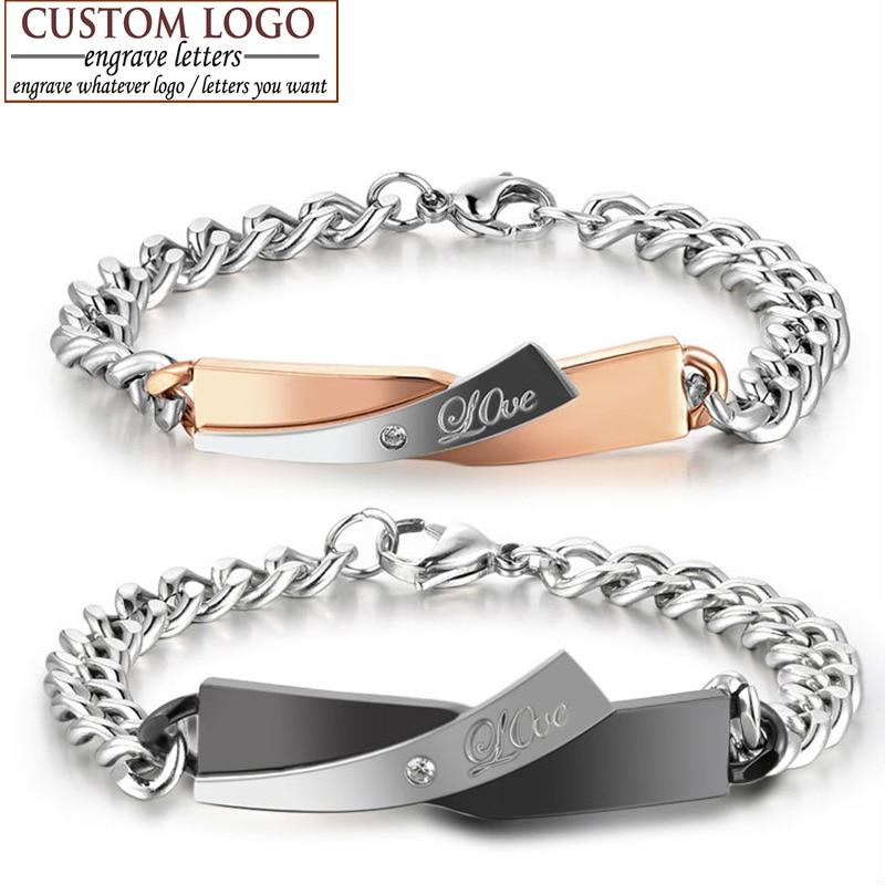 Pulseira de aço inoxidável para homens de cristal amor gravar personalização nome logotipo aziz bekkaoui para você nome pulseira de aço inoxidável