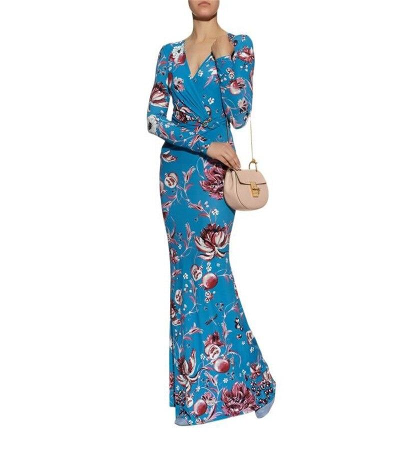 Encantador estampado azul Stretch Jersey cuello pico manga larga elástico Knittiing vestido Delgado