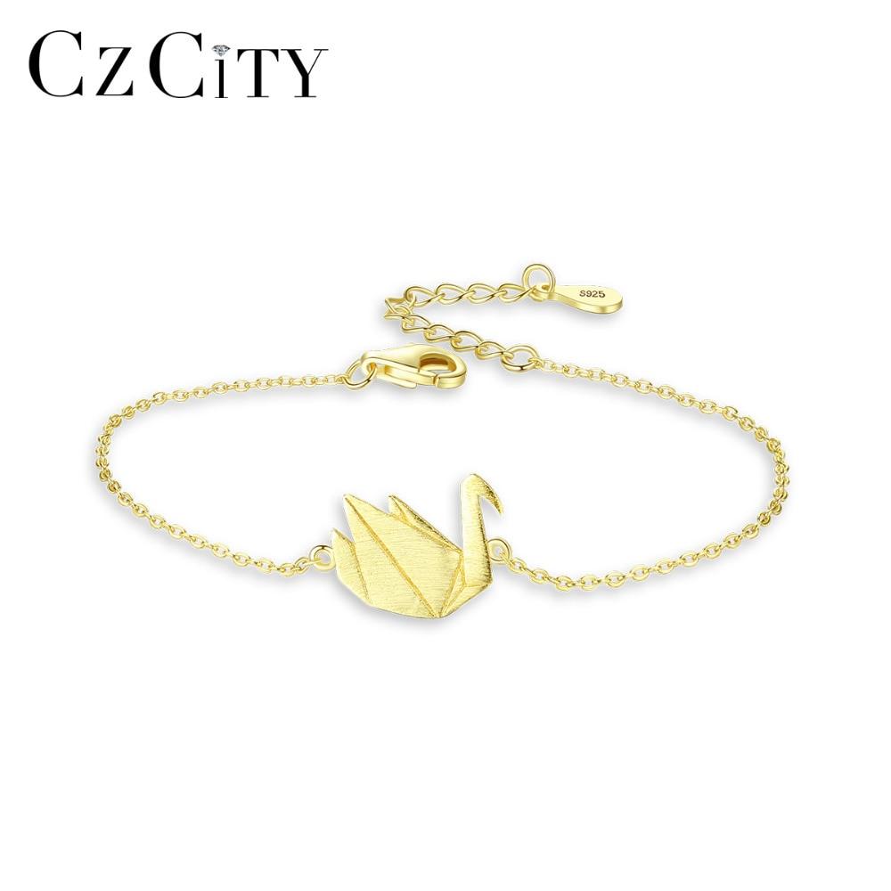 CZCITY Genuine 925 Sterling Silver Swan Chain & Link Bracelets for Women Fine Jewelry Party Animal Pulseira Feminina Gift SB0062