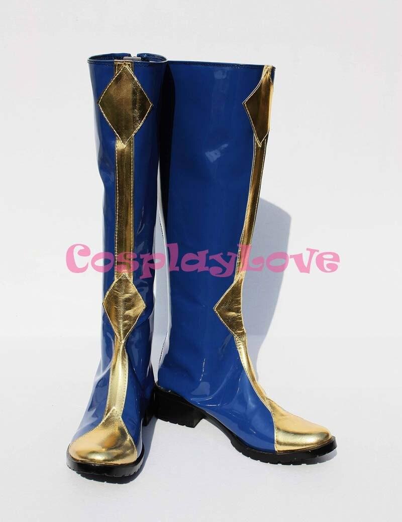 حذاء كوسبلاي من Code Geass حذاء ليلوش زيرو أزرق اللون مصنوع يدويًا مخصص لحفلات الهالوين والكريسماس